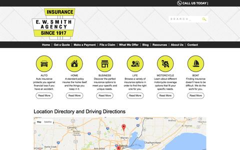 Screenshot of Locations Page ewsmith.com - EW Smith Insurance Agency  Locations and Driving Directions - captured Sept. 30, 2016