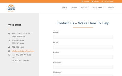 Screenshot of Contact Page premierbenefitsnd.com - Contact Premier Benefits Group - captured Sept. 24, 2018