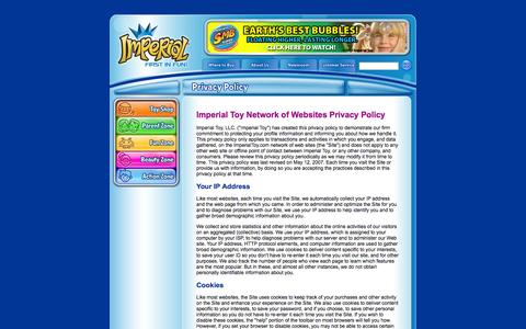 Screenshot of Privacy Page imperialtoy.com - Imperial Toy - Privacy Policy - captured Sept. 19, 2014