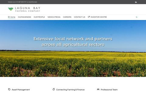 Screenshot of Home Page lagunabaypastoral.com.au - Laguna Bay Pastoral Company | Agricultural Asset Management and Investment - captured Oct. 1, 2014
