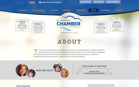 Screenshot of About Page stcloudareachamber.com - St. Cloud Area Chamber of Commerce - About - captured Oct. 24, 2017