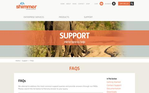 Screenshot of FAQ Page shimmersensing.com - FAQs | Shimmer - Frequently Asked Questions - captured Oct. 6, 2014