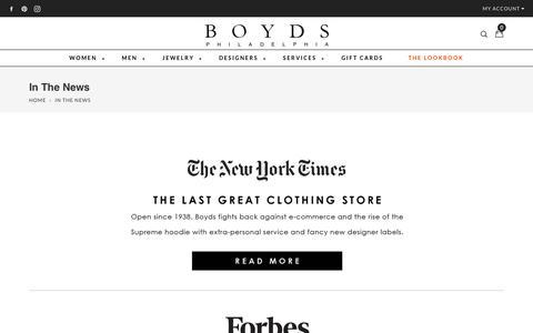 Screenshot of Press Page boydsphila.com - News & Press | Boyds Philadelphia - captured Oct. 3, 2018