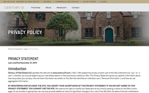 Screenshot of Privacy Page century21.com - Privacy Policy   CENTURY 21 - captured June 24, 2018