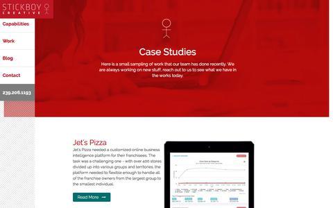 Screenshot of Case Studies Page stickboycreative.com - Stickboy Creative - Case Studies - captured Oct. 25, 2017