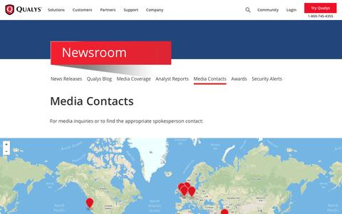 Screenshot of Press Page qualys.com - Media Contacts, Spokespersons & Press Inquiries | Qualys, Inc. - captured March 7, 2017