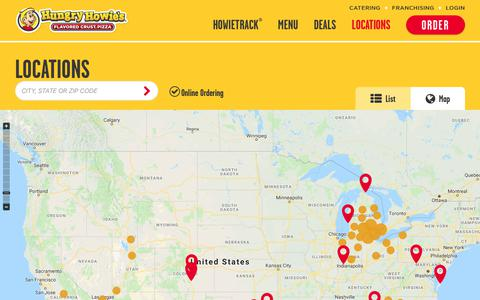 Screenshot of Locations Page hungryhowies.com - Find Our Nearest Pizza Locations - Pizza Delivery Near You | Hungry Howies - captured Sept. 23, 2018