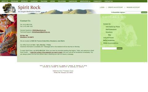 Screenshot of Contact Page spiritrock.org - Spirit Rock Contact Us - Spirit Rock - An Insight Meditation Center - captured Sept. 23, 2014