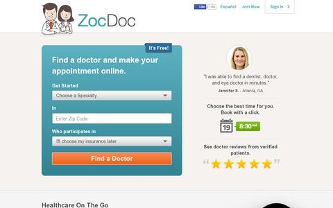 Screenshot of Home Page zocdoc.com - Find a Doctor – Doctor Reviews & Ratings | Book Online Instantly – ZocDoc - captured July 11, 2014