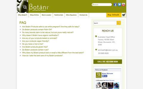 Screenshot of FAQ Page botani.com.au - Botani FAQ   Our FAQ - Botáni Australia - captured Oct. 5, 2014