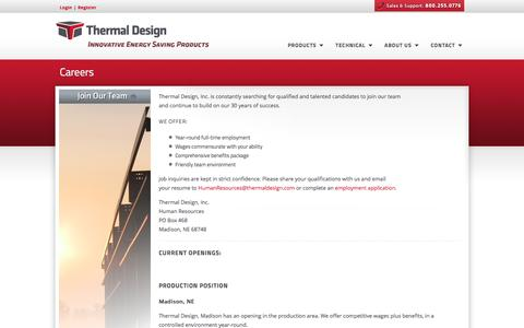 Screenshot of Jobs Page thermaldesign.com - Thermal Design, Inc. - Steel Building Insulation Systems - captured Dec. 2, 2016