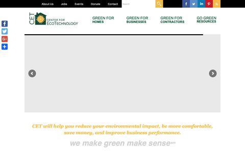 Screenshot of Home Page cetonline.org - Center for EcoTechnology - We make green make sense - captured Sept. 27, 2018