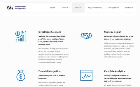 Screenshot of Services Page shieldwealthmanagement.com - Services - Shield Wealth Management - captured Sept. 20, 2018