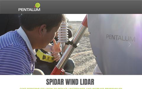 Screenshot of Home Page pentalum.com - Pentalum SpiDAR Wind LiDAR - captured July 12, 2018