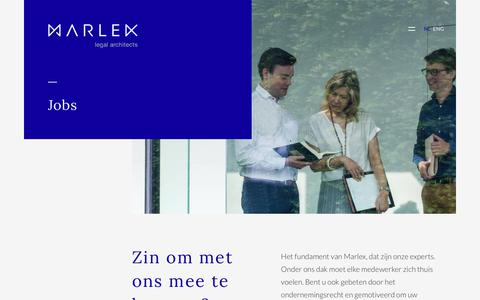 Screenshot of Jobs Page marlex.be - Jobs | Marlex Advocatenkantoor Brugge - captured Sept. 20, 2018
