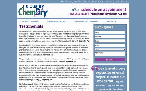 Screenshot of Testimonials Page jsqualitychemdry.com - Testimonials   Carpet Cleaning   Tile, Rug & Uphostelry Cleaners - captured Sept. 30, 2014