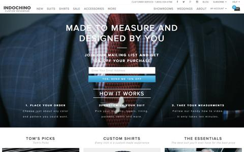 Screenshot of Home Page indochino.com - Custom Suits & Mens Suits - captured Oct. 24, 2015