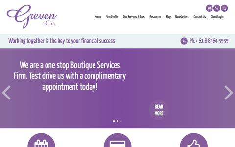Screenshot of Menu Page greven-co.com.au - Accounting, Financial Planning, Taxation, Virtual Office Solutions, Greven Accounting & Financial Services, Rose Park, Australia - captured July 17, 2016