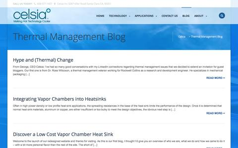 Screenshot of Blog celsiainc.com - Blog about heat sinks using heatpipes and vapor chambers | Celsia - captured Oct. 2, 2014