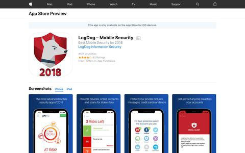Screenshot of Landing Page apple.com - LogDog – Mobile Security on the AppStore - captured March 31, 2018