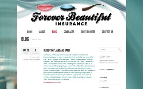 Screenshot of Blog foreverbeautifulinsurance.com - Blog | Forever Beautiful - captured Feb. 10, 2016