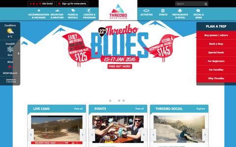 Screenshot of Home Page thredbo.com.au - Thredbo | Winter Ski & Snowboard | Summer Biking & Hiking - captured Oct. 1, 2015