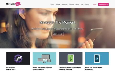 Screenshot of Home Page movableink.com - Contextual Email Marketing Software & Services | Movable Ink - captured March 10, 2016