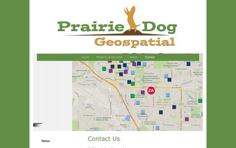 Screenshot of Contact Page prairiedoggeo.com - Contact - Prairie Dog Geospatial, Your location experts - captured Oct. 2, 2014