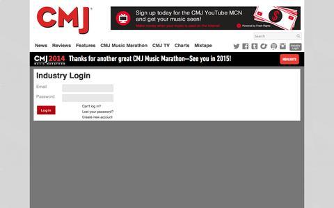 Screenshot of Login Page cmj.com - CMJ Industry Login - captured Oct. 28, 2014