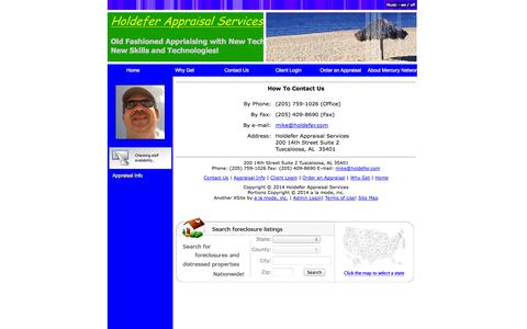 Screenshot of Contact Page hasllc.net - How to contact Us - Holdefer Appraisal Services - Contact Us - captured Oct. 2, 2014