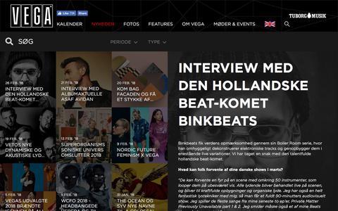 Screenshot of Press Page vega.dk - Interview med den hollandske beat-komet Binkbeats  - VEGA | Musikkens hus - captured Feb. 28, 2018