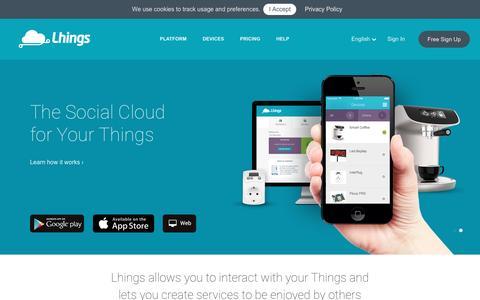 Screenshot of Home Page lhings.com - Lhings - captured Dec. 9, 2015