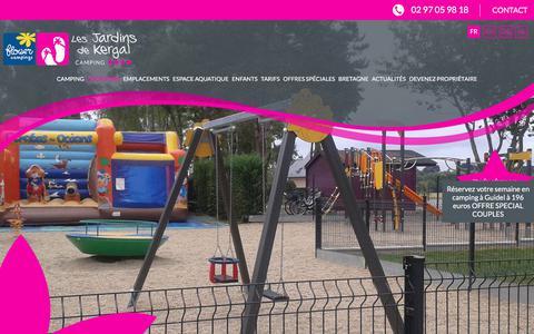 Screenshot of Locations Page lesjardinsdekergal.com - Camping à Guidel : location de mobil home près de Lorient en Bretagne Sud  - Les Jardins de Kergal | Camping 4 étoiles - captured March 14, 2018