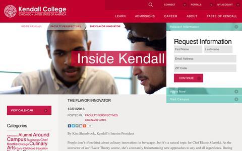 Screenshot of Blog kendall.edu - The Flavor Innovator - Kendall College - captured Sept. 11, 2017