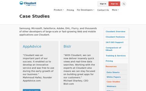 Screenshot of Case Studies Page cloudant.com - Case Studies   Cloudant - captured July 21, 2014