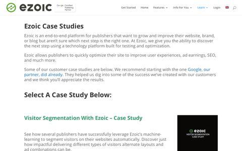 Screenshot of Case Studies Page ezoic.com - Ezoic Case Studies | See Published Ezoic Case Studies - captured July 13, 2018