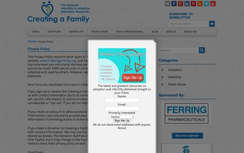 Screenshot of Privacy Page creatingafamily.org - Privacy Policy - Creating a Family | Creating a Family - captured July 17, 2016