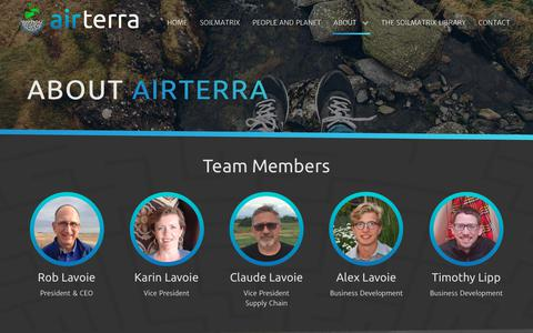 Screenshot of About Page airterra.ca - Biochar Products - AirTerra - For People and Planet - captured July 29, 2018