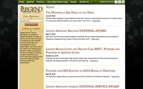 Screenshot of Press Page legendseniorliving.com - Legend Senior Living News - Legend Senior Living - captured Sept. 29, 2014