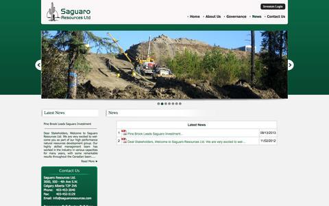 Screenshot of Press Page saguaroresources.com - Saguaro Resources Ltd - captured Sept. 17, 2014