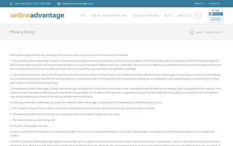 Screenshot of Privacy Page onlineadvantage.co.nz - Privacy Policy For Online Advantage Website - captured Nov. 13, 2017