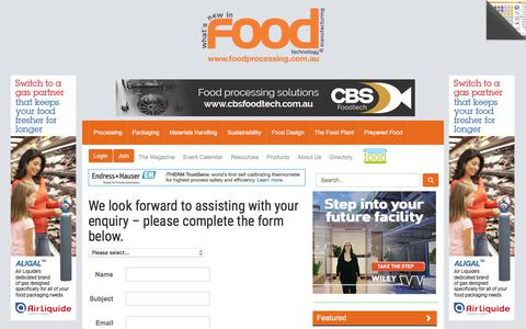 Screenshot of Contact Page foodprocessing.com.au - Contact us :: FoodProcessing - captured Aug. 19, 2018