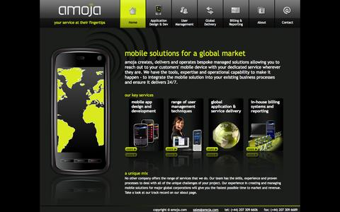 Screenshot of Home Page amoja.com - Global mobile solutions - Integrated mobile applications, mobile publishing, mobile marketing, mobile metrics - captured Oct. 4, 2014