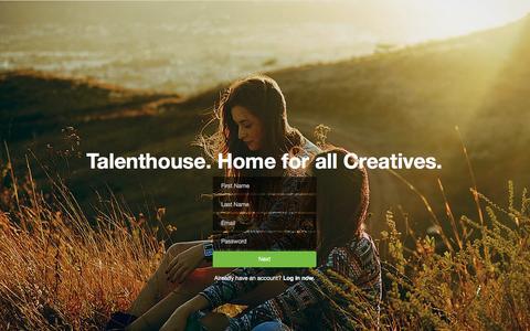 Screenshot of Signup Page talenthouse.com - Talenthouse - captured Jan. 16, 2016