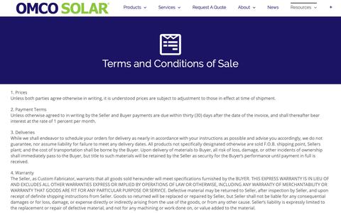 Screenshot of Terms Page omcosolar.com - Omco Solar Terms and Conditions of Sale - Omco Solar - captured Oct. 19, 2018