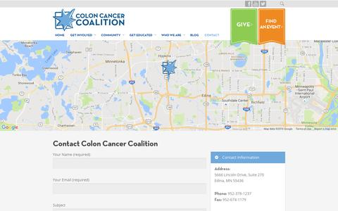 Screenshot of Contact Page coloncancercoalition.org - CONTACT   Colon Cancer Coalition - captured Nov. 9, 2016