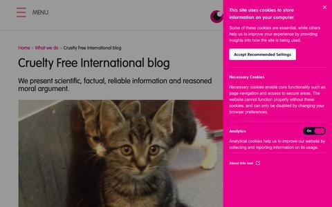 Screenshot of Blog crueltyfreeinternational.org - Cruelty Free International blog | Cruelty Free International - captured Oct. 25, 2018