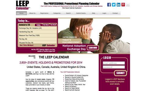Screenshot of Home Page leepbook.com - Leep Calendar - captured Jan. 23, 2015