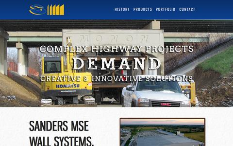 Screenshot of Home Page sanderscompanies.com - Sanders MSE Walls, Sound Barriers, & Bridges - captured Jan. 26, 2015