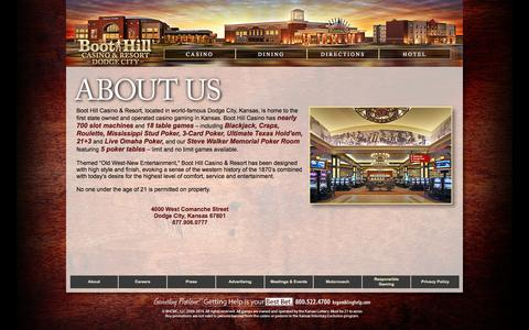 Screenshot of About Page boothillcasino.com - About - captured Oct. 5, 2014